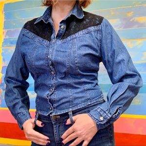 Vintage Western Denim & Lace Studded Top Size Med